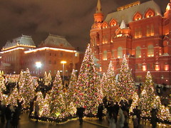 fabulous forest in the centre of Moscow (VERUSHKA4) Tags: architecture vue view museum red evening firtree lights christmas ville city hccity canon russia europe moscow holiday beautiful newyear winter hiver december window historic lamp roof street square outdoor sky cloud cityscape dance woman man