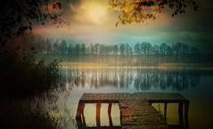 pier (augustynbatko) Tags: pier lake water nature autumn trees tree sky clouds landscape sunset