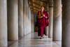 Passing by (CreArtPhoto.ro) Tags: watbenchamabophit coloane asia pray calugar marbletemple alley columns templu monastery walk temple prayer thailanda bangkok mounk alee rugaciune