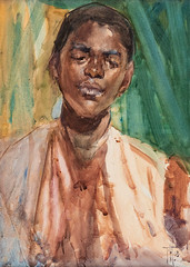 Frances Hodgkins — Study of a Sudanese, 1903. Painting: watercolor, 36 x 26 cm. Jonathan Grant Gallery, New Zealand. Male PortraitsWatercolorLooking Down (ArtAppreciated) Tags: fineart painting blogs tumblr artblogs artappreciated artoftheday artofdarkness artofdarknessco artofdarknessblog frances hodgkins date1903 sudanese 1900s male portraits african boy portrait looking down watercolor new zealand artists women british australian 20th century early modern art portraiture figurative expressionist black man