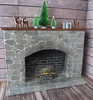 9. Finished 1:6 Stone Fireplace (Foxy Belle) Tags: dollhouse doll miniature fireplace barbie scale 16 tutorial how make playscale brick stone egg carton working grout diorama log cabin winter deer candles birch hearth woodsy