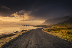 Dazzling light (Sizun Eye) Tags: light sunlight dazzling hofn iceland afternoon road track fjord sea coast coastline mountains travel voyage sizuneye nikond750 nikkor1424mmf28