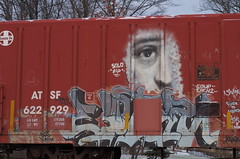 rootstown 217 (Fan-T) Tags: 622929 rootstown atsf boxcar eye graffiti face