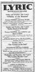lyric theater ad, Monticello, IL 07-09-1936 (RLWisegarver) Tags: piatt county history monticello illinois usa il