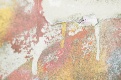Daydream (Djaron van Beek) Tags: abstract colorful faded streetart transitions arty crack outerwall urban damaged painted paintflakes spraypaint amorphous chaotic composition aesthetic eclectic weathered dirt bokeh dof depthoffield imaginative notthatmuchprocessed pasteltones beautyofdecay texture closeup humanlikefigure recliningfigure artsy djaron djaronvanbeek