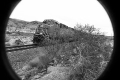 4298 West rushing to California (Woodypug) Tags: route66 bnsf westbound 4298 bw blackwhite mohave county arizona train locomotive railroad
