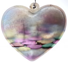 Double Exposure (haberlea) Tags: home macromondays heart hearts confetti metal macro doubleexposure ornament athome