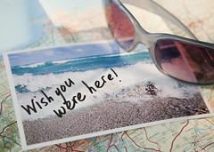 88853235 (evolutionlabs) Tags: summer wishing adventure travel vacation gettingawayfromitall souvenir memories guidance beach surf vacations map sunglasses postcard horizontal closeup highangleview threeobjects westernscript nopeople studioshot
