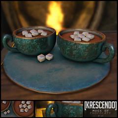 [Kres] Mugs of Chocolate ([krescendo]) Tags: freebie free huntitem hunt chocolate hotchocolate winter kres krescendo bepsl delicious food drink bargain