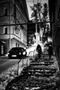 Dec 16, 2017 (pavelkhurlapov) Tags: noir road stairs car girls handrails buildings lights advertisements pipes trees streetphotography monochrome sign