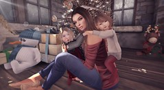 Say Cheese! (MadsPhotoFreak) Tags: christmas toddlers family snuggles cheese second life sl
