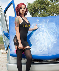 Low Low Girl (Mike Pixel) Tags: san antonio texas 210 anto low car show rider lowrider t2i 5d classic blue truck rims red hair sexy black dress tight tights fishnet stockings riding money swag art