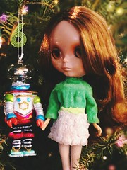 "Cindy's feeling nostalgic as she looks at old Christmas photos of her time with Larry. He was sweet but couldn't venture out far due to his limited 70s battery pack and Cindy was a go getter. CG is wearing vintage 1970 Skipper ""Lots of Lace"". ADVENT 6"