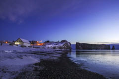 Too early for the sunrise (Danny VB) Tags: sunrise percé sony rx100 gaspesie québec canada winter snow ocean sea rock rocher rocherpercé house road lights dark early morning newyear beach plage playa 132 road132 route132 dannyboy dannyboyphotography explorecanada