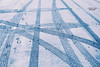 traces in the snow ... (mariola aga) Tags: winter parkinglot road pavement snow cartraces footsteps prints lines geometry white blue abstract art simplicity thegalaxy