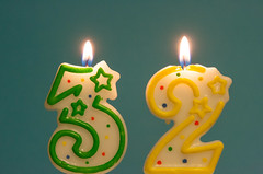 Three Two (not without my camera_) Tags: 2017 candle flame numbers three two thirtytwo celebration birthday light fire turquoise green yellow digital canonef24105 anniversary anotheryear stars confetti dots