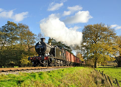 4277 on a goods train between Consall and Cheddleton. (johncheckley) Tags: d90 uksteam loco goods train railway trees autumn