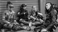 MeraLuna_2017 (37.1) (uwesacher) Tags: gothic mera luna 80s newwave bw musikfestival porträt punk openair personen sw 2017 schlamm stiefel x100s löcher hose dreadlocks hardcore tetrapack gruppenbild
