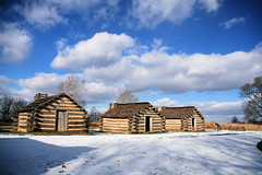 Blue Skies over Muhlenberg (Jen_Vee) Tags: huts wood valleyforge sky blue clouds snow winter nationalparks history encampment white brown afternoon