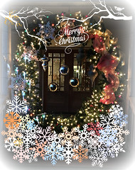Holiday Portal... (glasskunstler) Tags: portal entrance wreath lights christmas overlays door welcome snowflakes ribbon branches twigs imagination festive reflections ornaments balls illuminated night glow creative apple6s phone