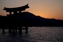 Itsukushima Shrine at Dusk (Miyajima, Hiroshima, Japan) (Free For Commercial Use (FFC)) Tags: itsukushima shrine dusk sunset sky miyajima hiroshima japan sea ocean freetravelimage world adventure escape travel freedownload freeforcommercialuse creativecommons creativecommonsattribution