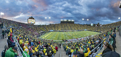 It never rains in Autzen Stadium (acase1968) Tags: 8photo photomerge autzen stadium ducks football nikon eugene oregon pac12 ncaa college university washington state cougars d500 tokina 1120mm f28 blue hour storm clouds sunset pink