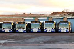 The Final Five (J3613/15/07/01/14) (Fraser Murdoch) Tags: johnstone depot mcgills miliken park renfrewshire bus vehicle transport canon eos 650d fraser murdoch photography j3613 j 3613 3615 3607 3601 3614 j3615 j3607 j3601 j3614 lk05 fcz fdj ezw fby fdf lk05fcz lk05fdj lk05ezw lk05fby lk05fdf o530g articulated bendy first london 38 glasgow dumbarton mercedes benz mb evobus