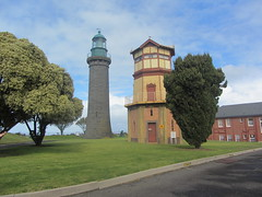 Black Lighthouse and signal tower, Fort Queenscliff, Queenscliff, Victoria, Australia (d.kevan) Tags: lighthouses signaltowers queenscliff towers victoria australia fortsandcastles fortqueenscliff trees buildings grass 1862