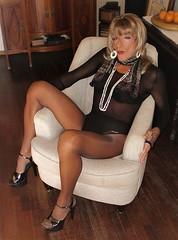 Karen (Karen Maris) Tags: tg tgirl tgurl karen legs tranny trannie transgender transvestite transsexual pantyhose tights sheer blonde heels higheels crossdress crossdresser