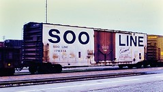 Soo Line colormark boxcar at San Bernardino in 1978 0210 (Tangled Bank) Tags: old classic heritage vintage 1970s 70s 1978 rolling stock freight car cars train trains railway railways railroad railroads north american san bernardino california soo line colormark boxcar 0210