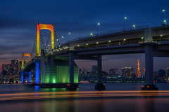Rainbow Coloured Rainbow Bridge (703) Tags: japan lighttrails magichour odaiba pentaxk3ii rainbowbridge tokyo cityscape dusk houseboat night nightscape nightscene nightview twilight お台場 トワイライト マジックアワー レインボーブリッジ レーザー レーザービーム 光軸 夜景 屋形船 屋形船レーザー 日本 東京 港区