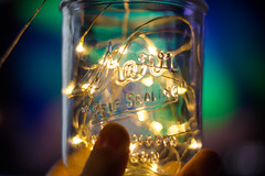 Decorative Jar with Lights (Alex Wilson Photography) Tags: lights light lighting yellow fairy led leds wire room decorating jar jars kerr self sealing glass coinjar coin hand hands