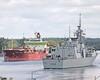 Navy meets Merchant Marine (Roger Litwiller -Author/Artist) Tags: hmcstoronto cpf canadianpatrolfrigate stlawrenceriver stlawrenceseaway rogerlitwillercollection mvsichemdefiance iroquoislock rcn royalcanadiannavy