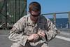 171128-N-OW019-012 (SurfaceWarriors) Tags: usspearlharbor pearlharbor lsd52 amphibiousdocklandingship navy deployment americaamphibiousreadygroup ama arg powerprojection amaarg aarg marines explosiveordnancedisposal eod combatlogisticsbattalion15 clb15 timedfuseburn ordnance ltcol arabiangulf