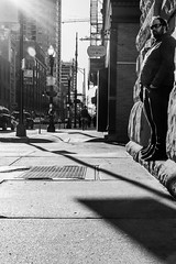 Coming through (dharder9475) Tags: 2017 bw blackandwhite floating man morning privpublic rivernorth sidewalk standing streetphotography