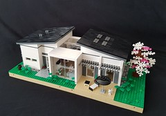 House of Three - a Scandinavian family home MOC. House without garden. (betweenbrickwalls) Tags: lego afol design legos architecture legoarchitecture contemporary modern house building home family scandinavia cherry tree