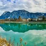River Inn with Zahmer Kaiser mountains in the Alps thumbnail