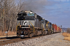"Westbound Intermodal in Birmingham, MO (""Righteous"" Grant G.) Tags: ns norfolk southern railway railroad locomotive train trains west westbound emd ge power kansas city missouri"