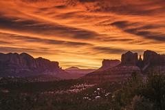 Fire in the Sky | Sedona, AZ (zwainhaus) Tags: sunrise sedona arizona orange red clouds sun silhouette cathedral rock desert nikon tamron