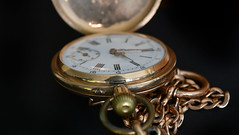 alte Taschenuhr mit Uhrkette  -  old pocket watch with watch chain (karinrogmann) Tags: macromondays january1 redux2017 memberschoicemarch13 madeofmetal taschenuhr gold pocketwatch orologiodataschino oro