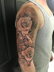 Rose and clock piece tattoo by Wes Fortier @ Burning Hearts Tattoo Co. Waterbury, CT. Instagram: @wesdtc | Facebook: facebook.com/burningheartstattoo