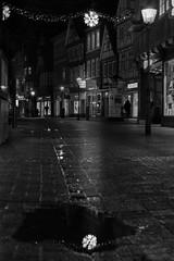 The fallen star (o_schopfer) Tags: bw noël spiegelung architecture blackandwhite city météo nightshot noiretblanc nuit oldtown photodenuit pluie rain reflection reflet stars vieilleville ville étoiles
