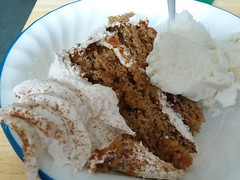 Cake And Ice Cream. (dccradio) Tags: lumberton nc northcarolina robesoncounty indoors inside cake lowesfoodsbakery frosting icecream dessert cakeandicecream vanillaicecream bowl corelle samsung galaxy smj727v j7v cellphone cellphonepicture