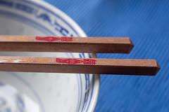 Chopsticks - HMM! (suzanne~) Tags: macro challenge macromondays stick chopstick bowl chinese tabletop lensbaby velvet56