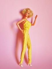 1979 Pretty Changes Barbie Doll #2598 (The Barbie Room) Tags: 1979 pretty changes barbie doll 2598 yellow 1970s 70s superstar jumpsuit hat dress lace white