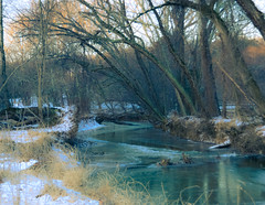 Alone; in early morning..... (tomk630) Tags: snow virginia stream morning light colors trees nature beauty alone cold