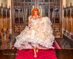 In a rush to see for herself! (trethurffe2001) Tags: allertoncastle barefooted champagnedress conservatory corridor england fullskirt gingerhair hoopedunderskirt indoors lifestyle redcarpet running statelyhome woodfloor woodpanelling yorkshire boroughofharrogate unitedkingdom gb ballgown