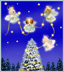 Sylvanian Families - Christmas Angels (Sylvanako) Tags: christmas card sylvanian wishing wishes magical christmastree tree angel angels star bright