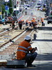 Workman having a break, Riversdale Road, Camberwell, Victoria (Diepflingerbahn) Tags: workmen tramlines riversdaleroad camberwell yarratrams route70 tramlinerefurbishment