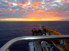 Sunset Day 1 aboard Aranui 5, French Polynesia (Diepflingerbahn) Tags: frenchpolynesia southpacific sunset ocean cargo crane forwardhold ship